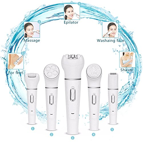 5 in 1 Electric Facial Hair Removal Epilator Facial Cleansing Brush Lady Shaver Callus Remover Facial Massage Rechargable Cordless Beauty Tool Kit(White)