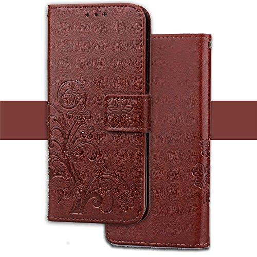 YAJIE-Carcasa Funda Para Huawei Honor Magic, [Relieve Lucky Flower Four-Leaf Clover] Funda de cuero de la PU [Soporte / Ranura para tarjeta] Con funda de correa de Lanyard ( Color : Gray ) Brown