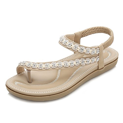 Wollanlily Women Summer Beach Bohemia Flat Sandals Rhinestones T Strap Ankle Strap Flip-Flop Thong Shoes Apricot-02 US 7