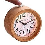 Wooden Alarm Clock Handmade Mute Snooze Nightlight With Luminous Needle Gift Idea (Beech)