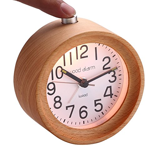 Wooden Alarm Clock Handmade Mute Snooze Nightlight With Luminous Needle Gift Idea (Beech) by woodi