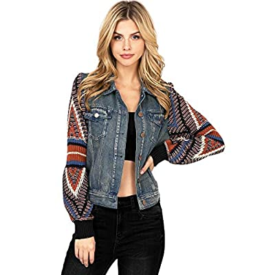 Flying Tomato Women's Boho Sweater Sleeve Denim Jacket at Women's Coats Shop
