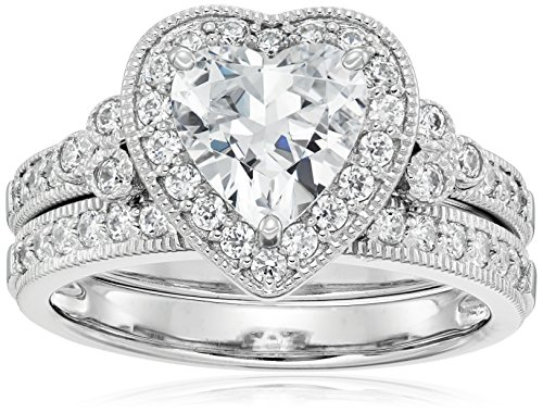 (Platinum-Plated Sterling Silver Swarovski Zirconia Heart Antique Ring, Size 7 )