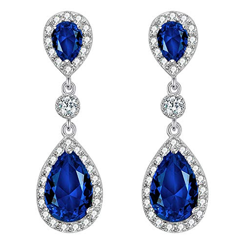 EleQueen 925 Sterling Silver Full Prong Cubic Zirconia Birthstone Teardrop Bridal Dangle Earrings Sapphire Color ()