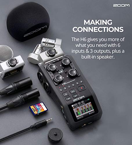 """Zoom H6 Handy Recorder Bundle with Silicon Power 32GB and 16GB Class 10 SD Cards, Blucoil 2x 10' XLR Cables, 10' Straight Instrument Cable (1/4""""), USB Charger, 5' Audio Aux Cable, and 5x Cable Ties"""