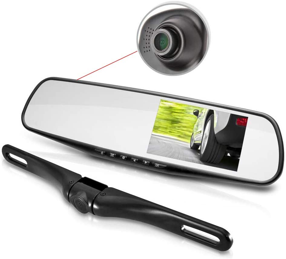 Pyle Dual Dash Cam Car Backup Camera | Car Recorder | Blackbox DVR | Rear Camera | Loop Security Camera | Waterproof Night Vision | Audio Recorder W Microphone | Micro SD Card | Full Color - HD 1080p