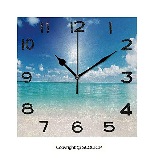 SCOCICI Print Square Wall Clock, 8 Inch Sky and Sea Landscape Golden Sand Tropical Beach Clouds Sun Hot Heaven Decorative Quiet Desk Clock for Home,Office,School