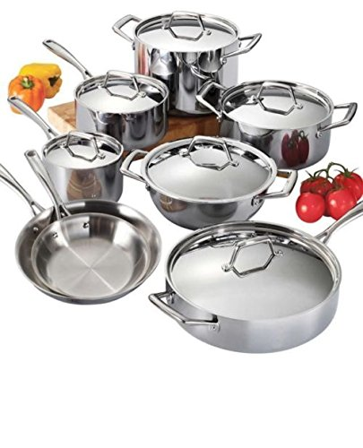 Tramontina 80116/599DS Stainless Steel Tri-Ply Clad Cookware Set, 14-Piece, Made in Brazil
