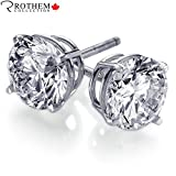 Exquisite Naturally Mined 1.00 carat H I1 Diamond Stud Earrings 14K Solid White Gold for Pierced Ears