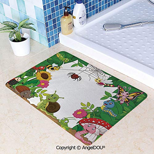 SCOXIXI Absorbent Super Cozy Rectangle Kitchen Bathroom Carpet Happy Little Butterflies Bugs Insects Comic Caterpillars Dragonflies Spider Web Washable Porch Floor Mat -