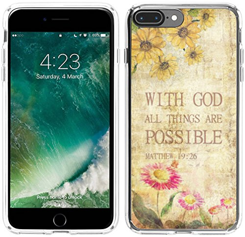 8 Plus Case Bible Verses, Hungo Soft TPU Silicone Protector Cover Case Compatible with iPhone 8 Plus/7 Plus Christian Sayings with God All Things are Possible Matthew