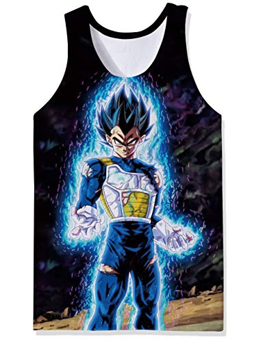 OPCOLV Young Mens Dragon Ball Z Tank Tops Saiyan Vegeta Tank Shirt Cool Elongated Compression Vest Tops ()