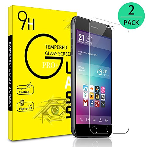 Juzihao iPhone 8/7/6S/6 Screen Protector, [2-Pack] 0.3mm Ultrathin Tempered Glass Premium High Definition (HD)/9H Hardness/Explosion Proof Front/Case Friendly for 2017 4.7-inch iPhone 8 7 6s 6