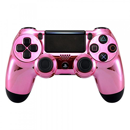 eXtremeRate Faceplate Cover, Chrome Pink Edition Front Housing Shell Case, Replacement Kit for Playstation 4 PS4 Slim PS4 Pro JDM-040 JDM-050 JDM-055 Controller