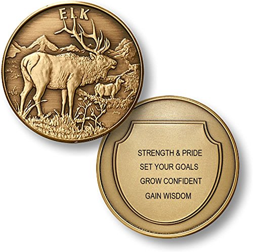 Personalized Custom Engraved North American Wildlife Collection Premium Bronze - Challenge Coin - Medallion (ELK) American Wildlife Collection