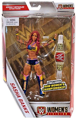 WWE Elite Collection Sasha Banks Action Figure with Raw Women's Championship Belt by WWE