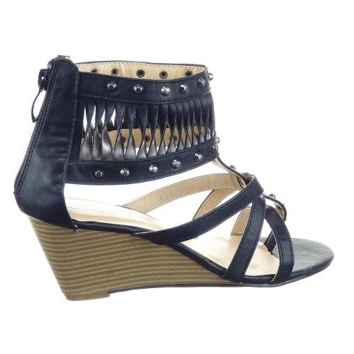 Kickly - Chaussure Mode Sandale Compensée Spartiates cheville femmes multi-bride clouté Talon compensé 6 CM - Intérieur synthétique - Noir
