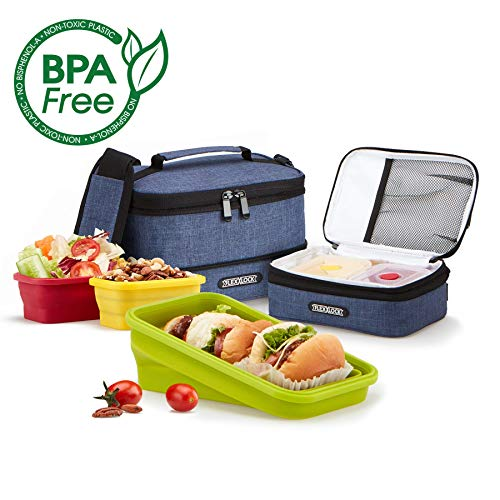 FLEX&LOCK Collapsible Lunch box - Silicone Bento Lunchboxes Storage Containers and insulated bag set, Bento boxes BPA Free, Microwave, Freezer and Dishwasher Safe (Navy)