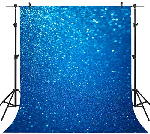 PHMOJEN 5x7ft Pure Blue Photography Backdrop Shiny Background Ideal Wedding Birthday Party Video Backdrop Studio Props LFPH091