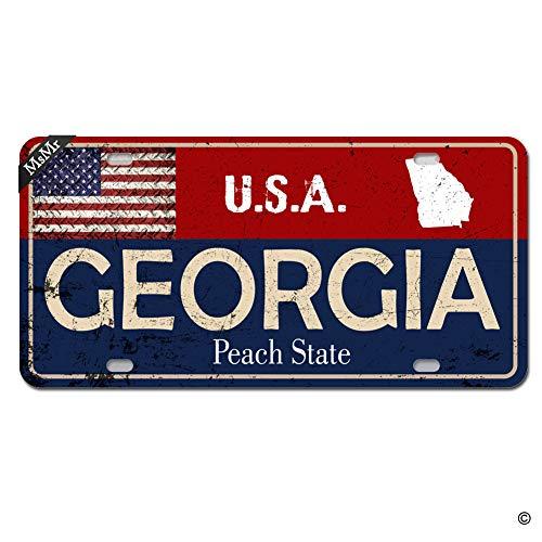 MsMr Personalized Custom State License Plate Georgia License Plate Cover USA Flag Auto Car Tag 4 Holes, 12