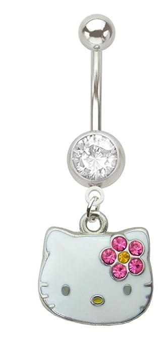 Amazon Com Hello Kitty Head Pink Yellow Flower Dangle Belly