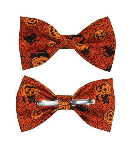 (Men's Pumpkins/Black Cat Clip On Cotton Bow Tie Halloween)
