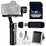 ikan Beholder MS1 3-Axis Motorized Gimbal Stabilizer + 128GB SDXC Class 10 Memory Card + SD Card USB Reader + Memory Card Wallet + Deluxe Starter Kit Bundle
