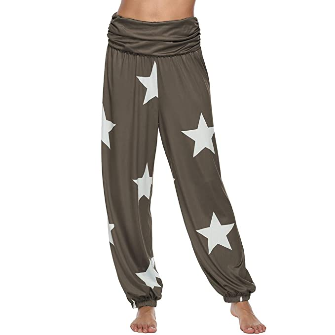Amazon.com: Womens Casual Harem Pants Fold Over Waist Wide ...