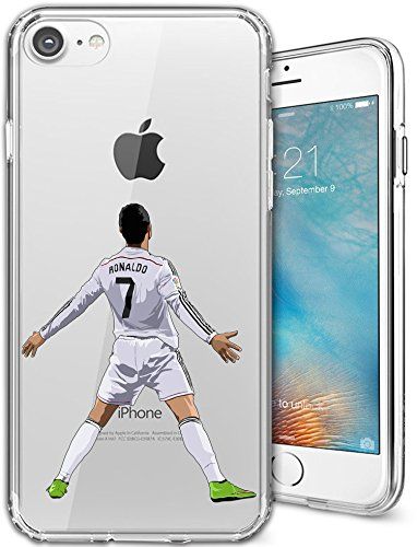 iPhone 7 Case, Chrry Cases Ultra Slim [Crystal Clear] [Soccer Series] Cristiano Ronaldo Soft Transparent TPU Case Cover for Apple iPhone 7 (4.7) - (Crystal Clear Football)