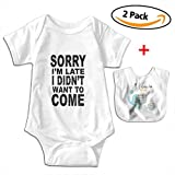 POOPEDD Sorry I'm Late I Didn't Want To Come1(1) Unisex Baby Short Sleeve Onesies Bodysuit Outfits