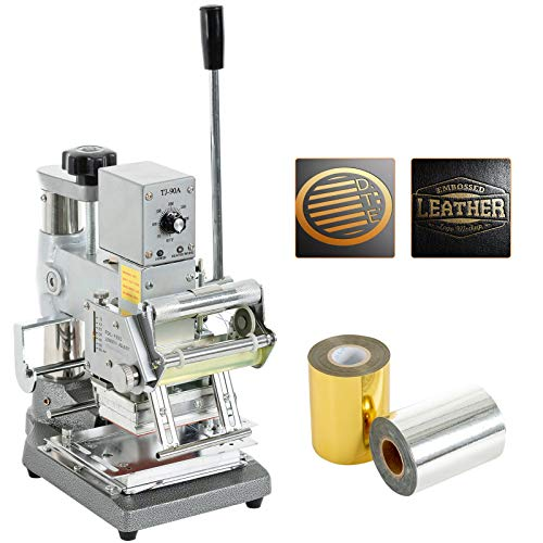 SUNCOO Hot Foil Stamping Machine 2.4'' x 3.5'' Bronzing Machine Leather Embossing Machine Printing Logo for PVC Card, Credit Card, Leather, Plastic with Foil Paper