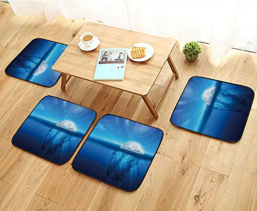 Elastic Cushions Chairs A Polar Bear on top of a Natural Iceberg Glacier on The North Atlantic. for Living Rooms W29.5 x L29.5/4PCS Set
