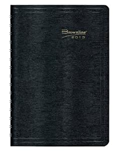 Brownline 2013 Daily Planner, Twin-Wire, Black, 8 x 5 Inches (CB634W.BLK-13)