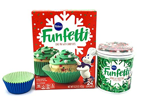 Pillsbury Funfetti Christmas Holiday Cupcake Mix Bundle (3 items) - Funfetti Yellow Cake Mix, Funfetti Green Vanilla Frosting with Snowflake Shaped Sprinkles and 25 Paper Cupcake Liners (Icing For Snow Christmas Cake)