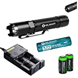 Olight M18 Striker Cree XM-L2 800 lumen LED Tactical Flashlight, Olight 18650 Li-ion rechargeable battery, Nitecore i2 smart charger with two EdisonBright CR123A Lithium Batteries