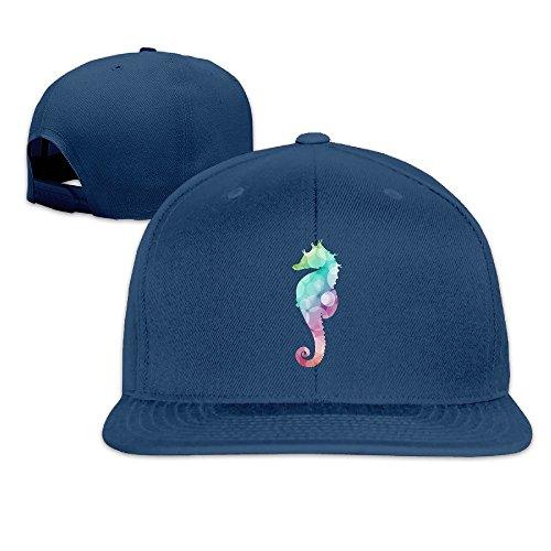 [Custom Unisex-Adult Cartoon Sea Horse Snapback Baseball Caps Navy] (Dance Costumes Seattle)