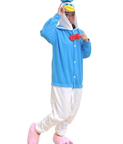 BOMOVO Pijama de una pieza supersuave - Con capucha - Pato Donald - azul y blanco
