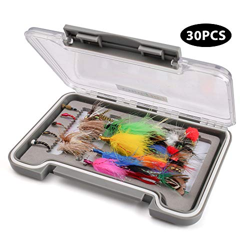 LotFancy Dry Wet Flies Fly Fishing Kit with Waterproof Tackle Box Nymph Flies, Wooly Bugger Flies, Streamers, Emergers, Caddis Fly Assortment for Trout Bass Salmon (30PCS+Storage Box)