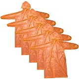 CTKcom 4Pcs Disposable Raincoats,Portable Reusable with Hoods and Sleeves Rain Coats Waterproof Lightweight Rain Coat Perfect for Camping Hiking Sport Outdoor Activities For Men and Women (Orange)