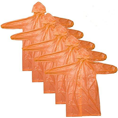 CTKcom 4Pcs Disposable Raincoats,Portable Reusable with Hoods and Sleeves Rain Coats Waterproof Lightweight Rain Coat Perfect for Camping Hiking Sport Outdoor Activities For Men and Women (Orange) by CTKcom (Image #8)