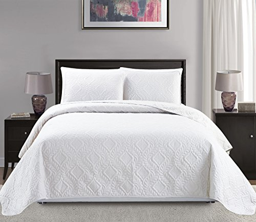 Mk Collection Full/Queen Size over size 100″x106″ 3 pc Diamond Bedspread Bed-cover Embossed solid White New