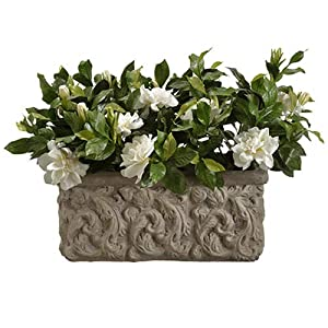 17.5″ Silk Gardenia Flower Arrangement w/Stone Pot -Cream/Green