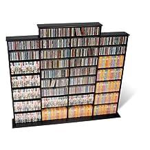 Prepac BMA-1520 Quad Width Wall Media Storage Rack (Black)