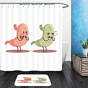 Vanfan Bathroom 2 Suits 1 Shower Curtains & 1 Floor Mats stomach human internal organ healthy vs unhealthy medical anatomic funny cartoon character pair in 572308069 From Bath room