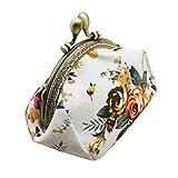 Qisc Cute Wallet, Ladies Women Change Purse Retro Vintage Flower Small Wallet Hasp Purse Clutch Bag (White)