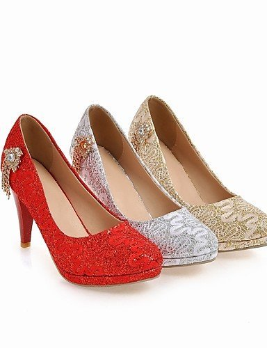 Bout Mariage Soirée Travail Habillé Shangyi Bureau amp; Femme Aiguille Golden Argent Evénement Or talons Rouge Talon Chaussures wEZqq0C
