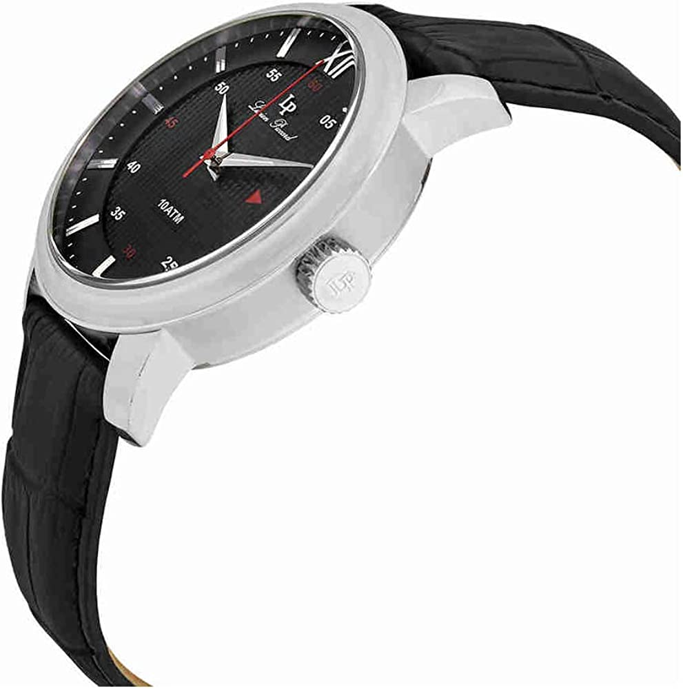 Lucien Piccard Men s LP-40019-01 Amici Stainless Steel Watch with Black Leather Band