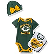 NFL Green Bay Children Girls Bodysuit, Bib & Cap Set, 3-6 Months, Packers