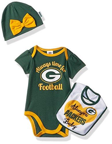 NFL Green Bay Packers Baby-Girls Bodysuit, Bib & Cap Set, Packers, 0-3 Months - Green Bay Packers Infant