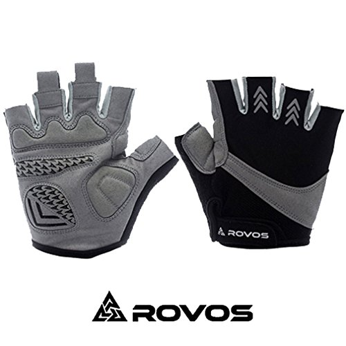 ROVOS Outdoor Bike Gloves Half Finger Bike Gloves Men Large Men/Women(Black,Large)